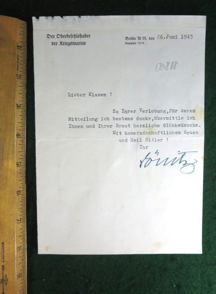 ADMIRAL DONITZ 1943 SIGNED LETTER ON ORIGINAL STATIONARY