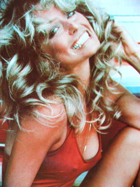 Farrah Fawcett Original 1977 Poster Put On Sticker Near