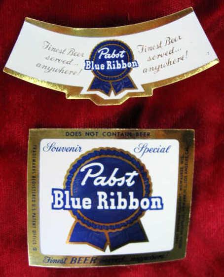 PABST BLUE RIBBON BEER 10 ORIGINAL 1955 MINIATURE BOTTLE